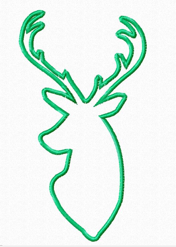 570x798 Deer Silhouette Buck Head 5x7 Applique Pattern Instant