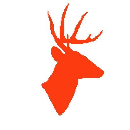 448x448 Deer Silhouette Cross Stitch Pattern, Deer Head Crossstitch Pdf