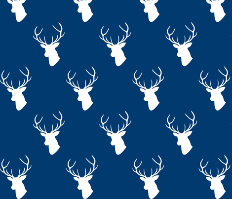 470x403 Navy Deer Silhouettes Fabric By Mrshervi On Spoonflower