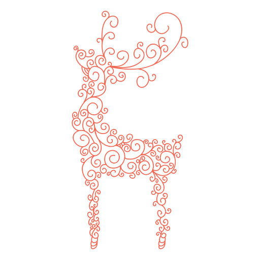 512x512 Reindeer Silhouette Red Swirl Pattern 40