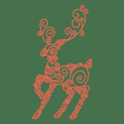 512x512 Reindeer Silhouette Red Swirl Pattern 84