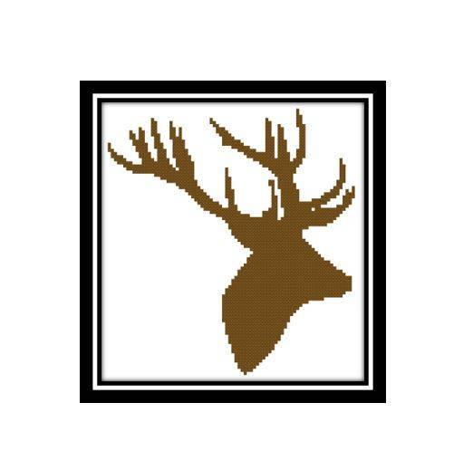 522x519 Scottish Stag Cross Stitch Deer Silhouette Pattern [Cross Stitch