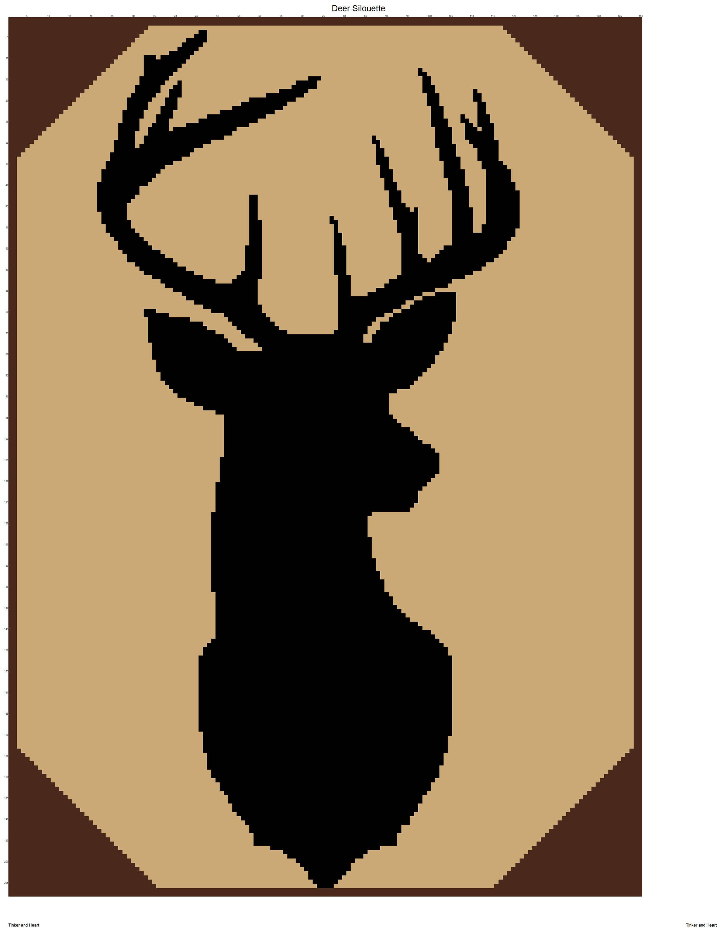 2302x3000 Deer Silhouette Graph And Written Crochet Pattern By