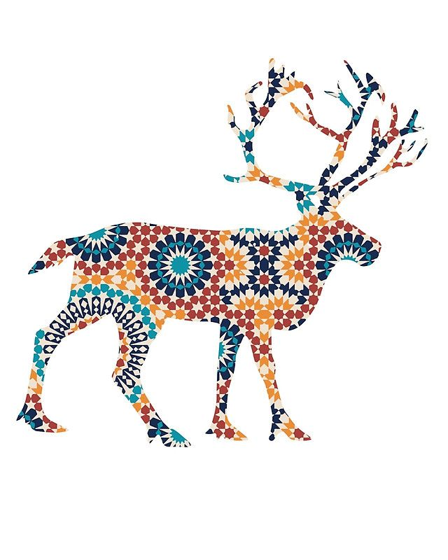 640x800 Deer Silhouette With Pattern