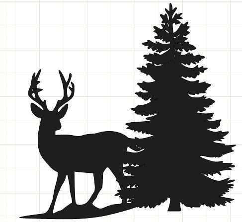 487x447 Happy2bscrappin' Deer Silhouette With Tree Paper Cutouts