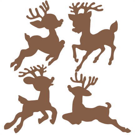 432x432 Christmas Reindeer Set Svg Scrapbook Cut File Cute Clipart Files