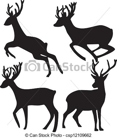 401x470 Deer Silhouette On White Background Clip Art Vector