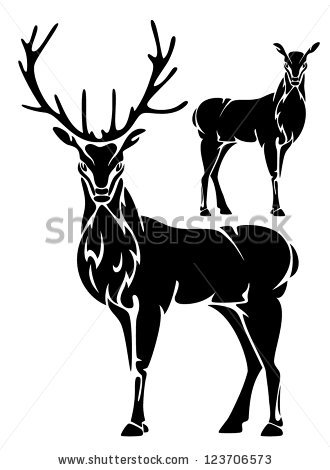 330x470 Deer Outline Clipart Black And White
