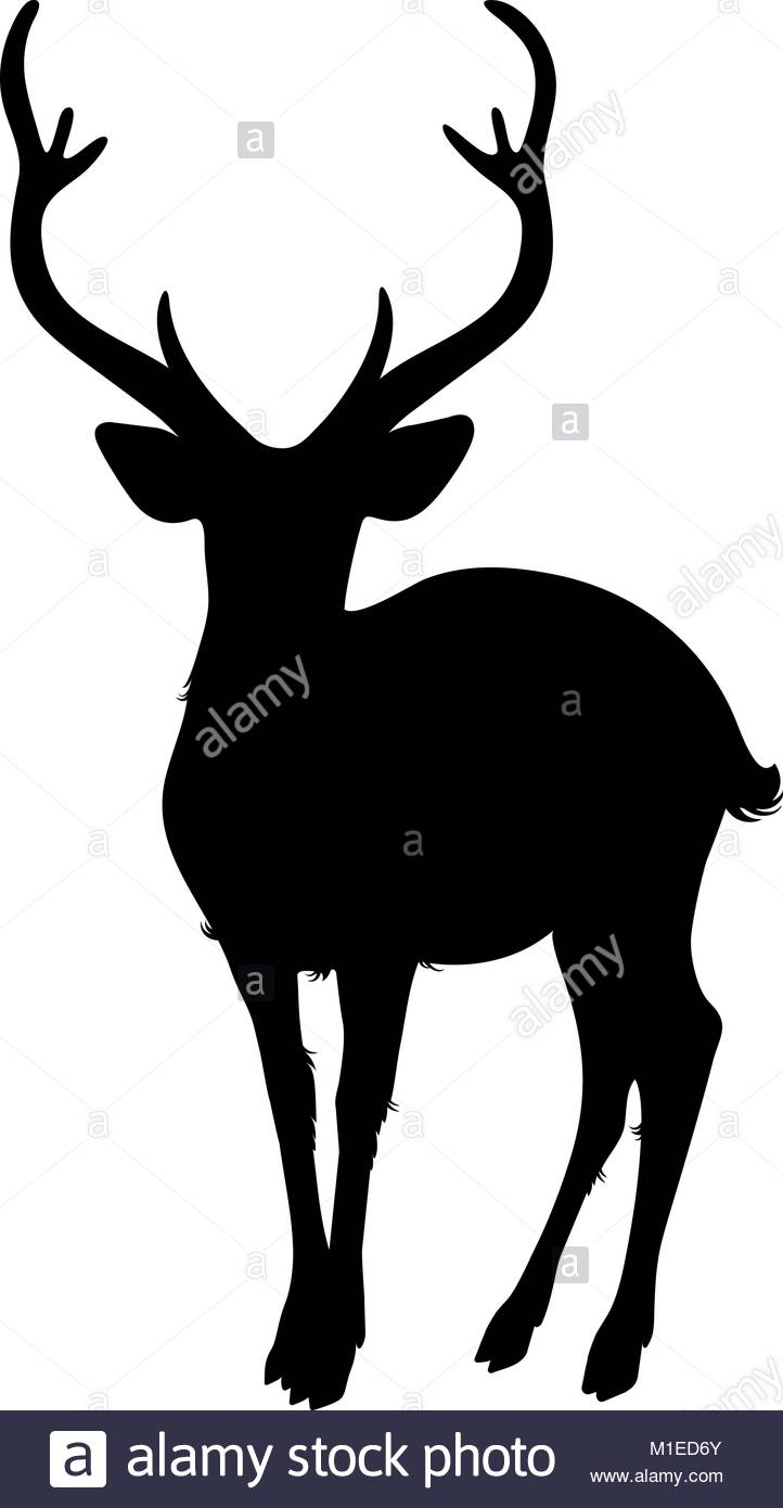 722x1390 Deer Silhouette On A White Background Stock Vector Art