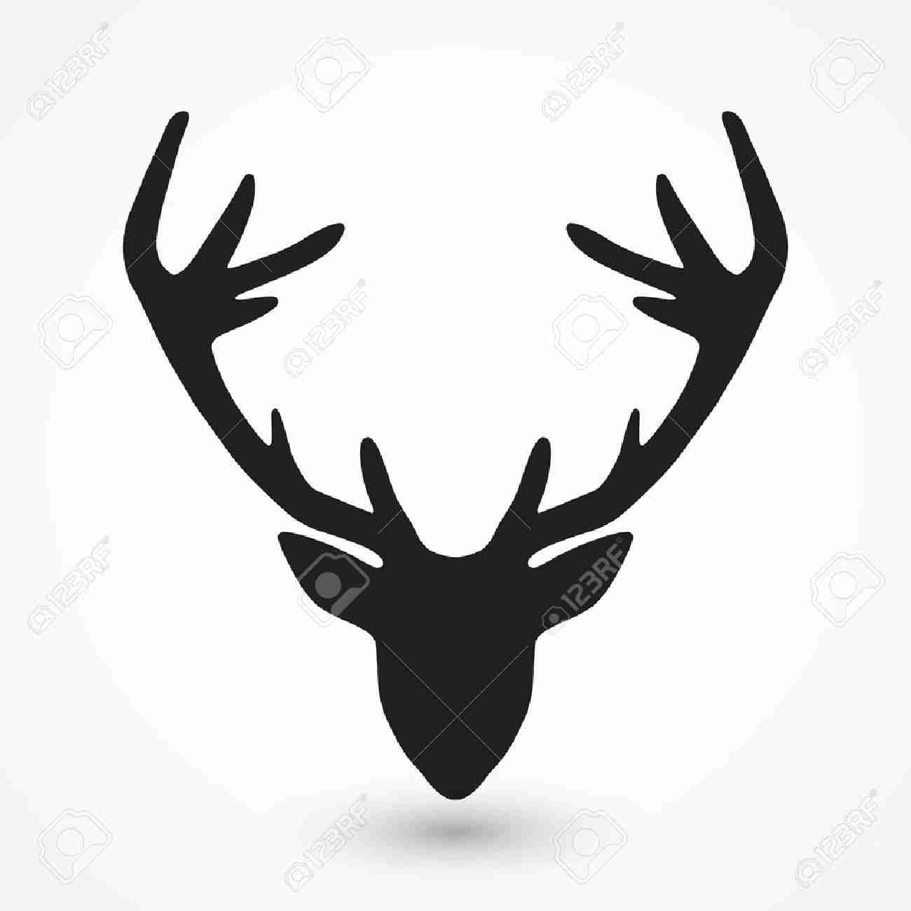 1300x1300 Royalty Free Deer Skull With Antlers Silhouette 178446326 Stock