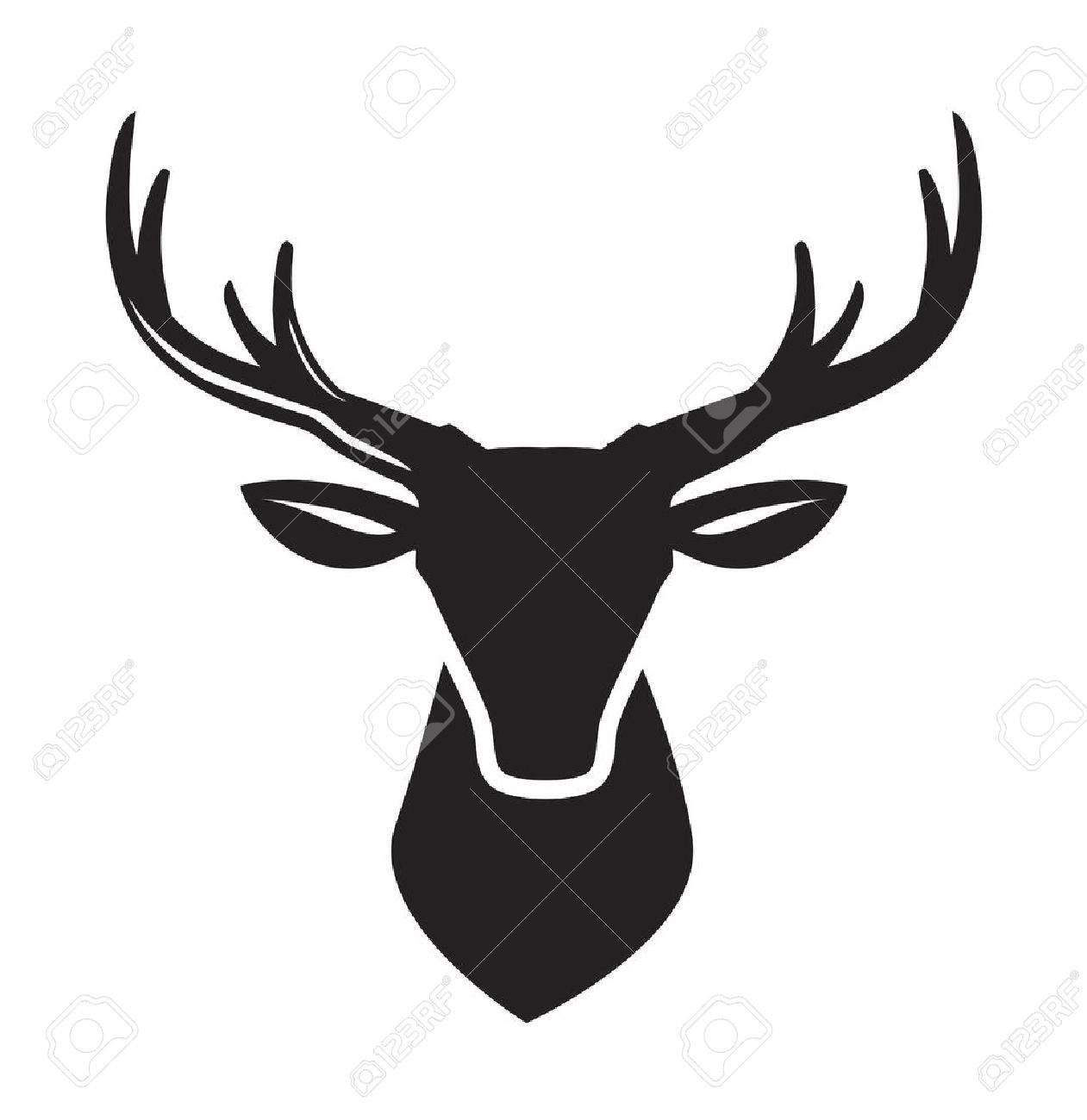 1261x1300 Vector Black Deer Head Icon On White Background Royalty Free
