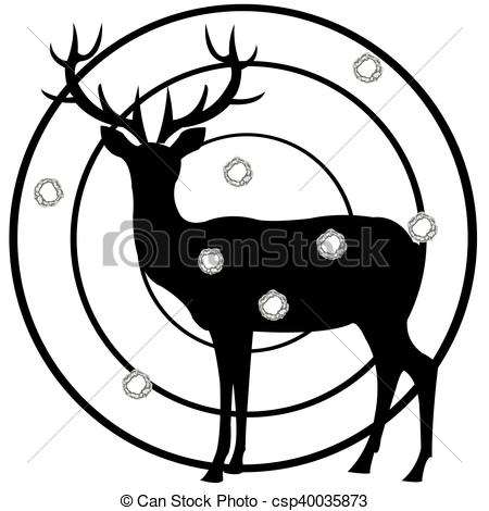 450x470 Silhouette Of The Deer On Dartboard. Dartboard Of The Deer