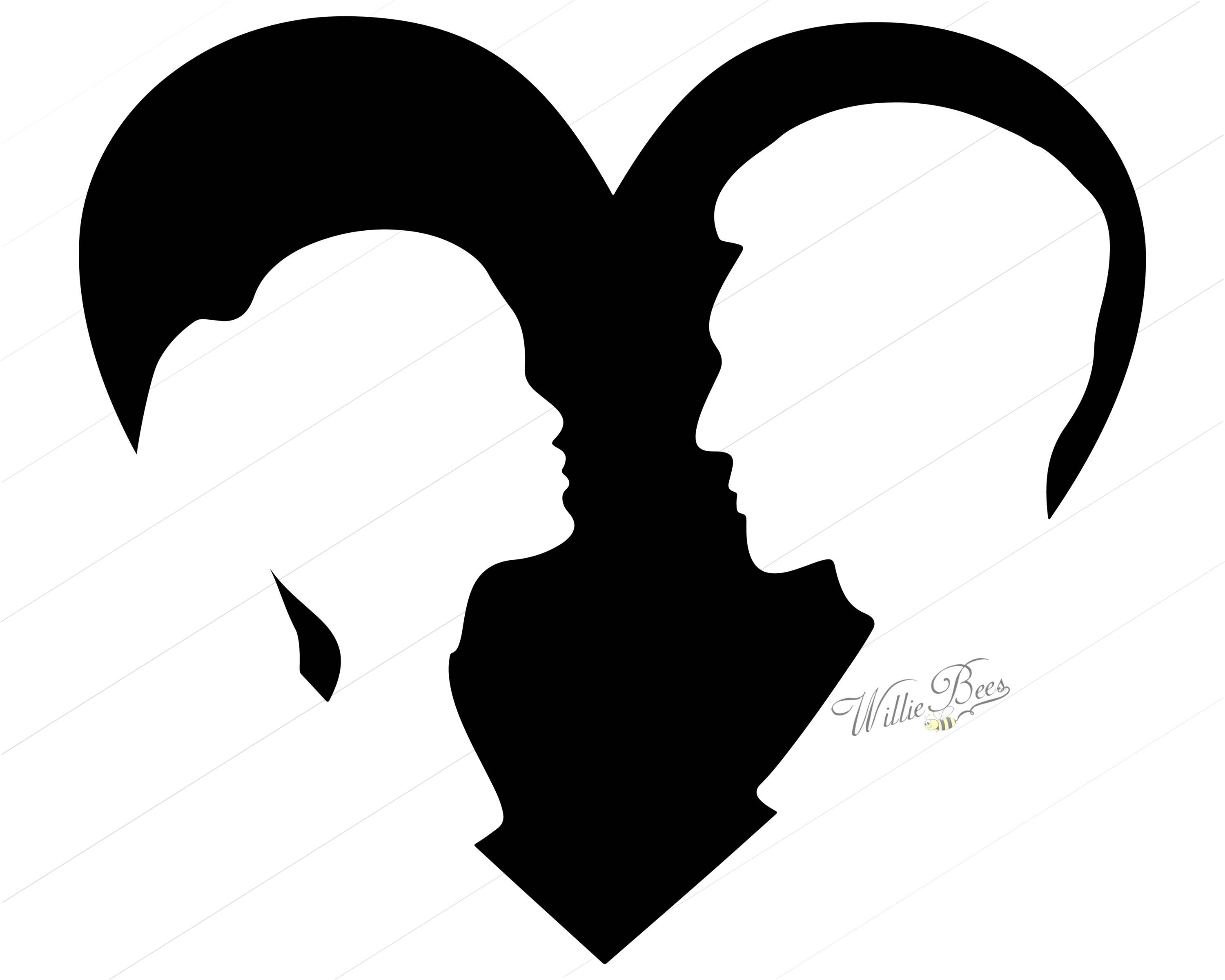 3000x2400 Heart Shape With Couple 12 Inches Png And Svg Silhouette