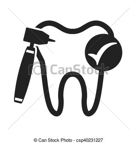 450x470 Tooth Silhouette With Dental Care Icon Vector Illustration