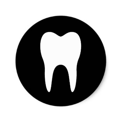 400x400 Blue And White Tooth Logo Dentist Dental Modern Square Sticker