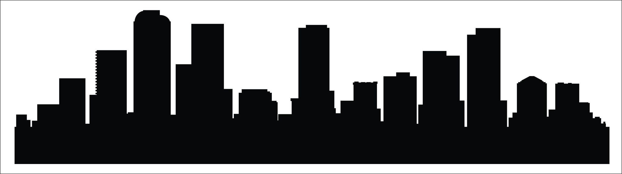 2048x574 Denver Skyline Decal Blue Orange, Denver And Denver Skyline