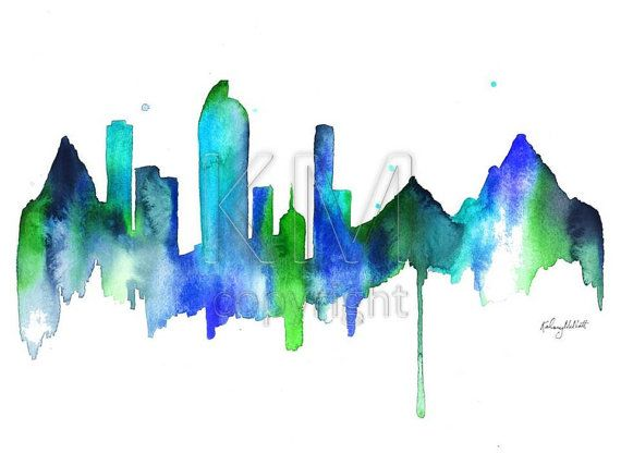 570x428 Denver Skyline Print Of Original Watercolor Painting