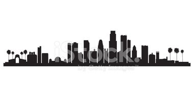 380x190 Los Angeles City Skyline Silhouette Background Stock Vectors