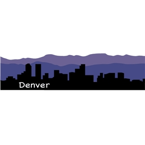 300x300 Denver Skyline Silhouette Abstract Design City Vector Art