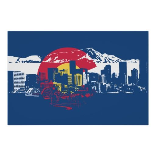 512x512 Colorado Flag With Denver Skyline And Rockies Poster Denver
