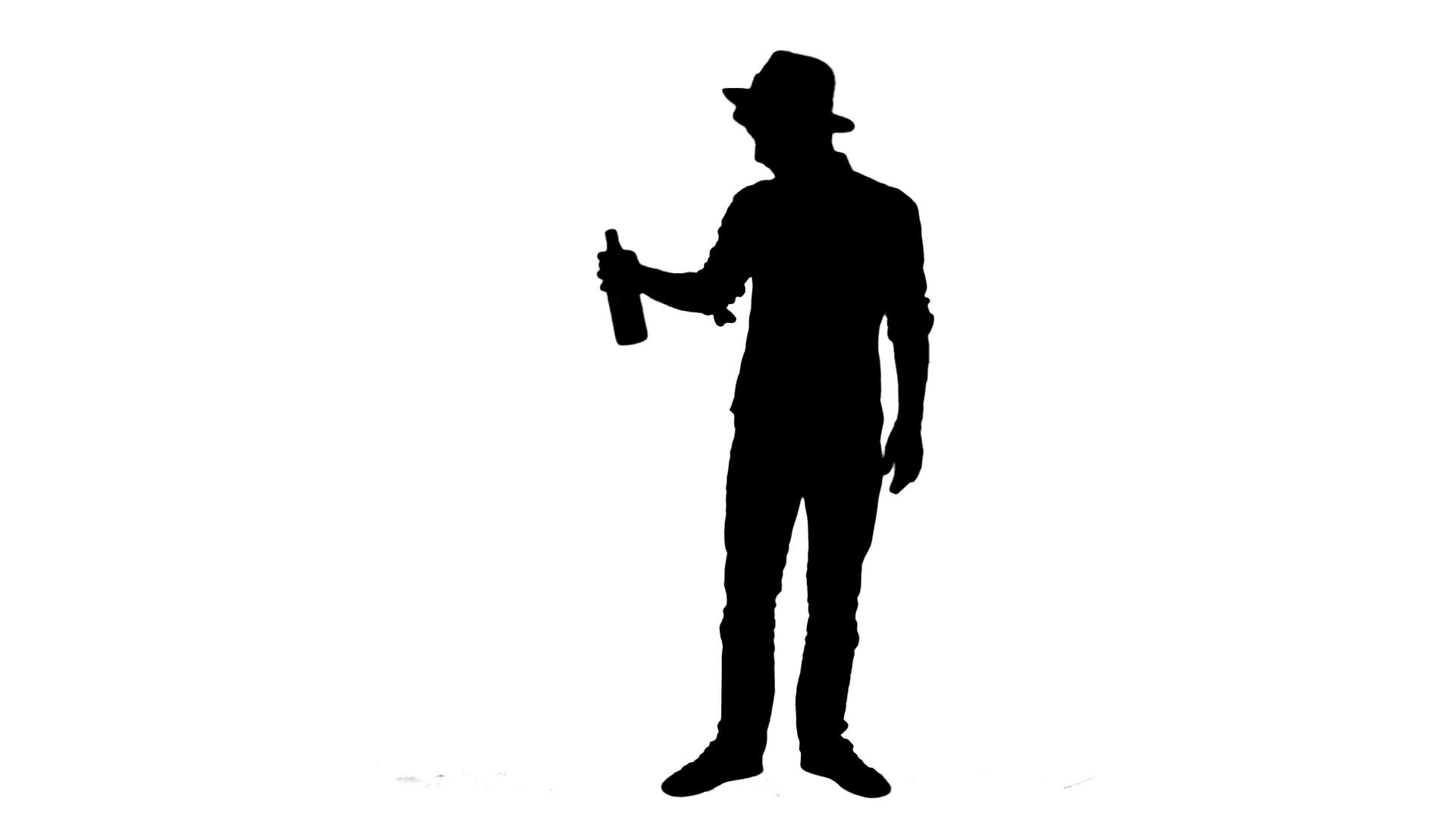 1920x1080 Drunk Man Silhouette Cowboy Style