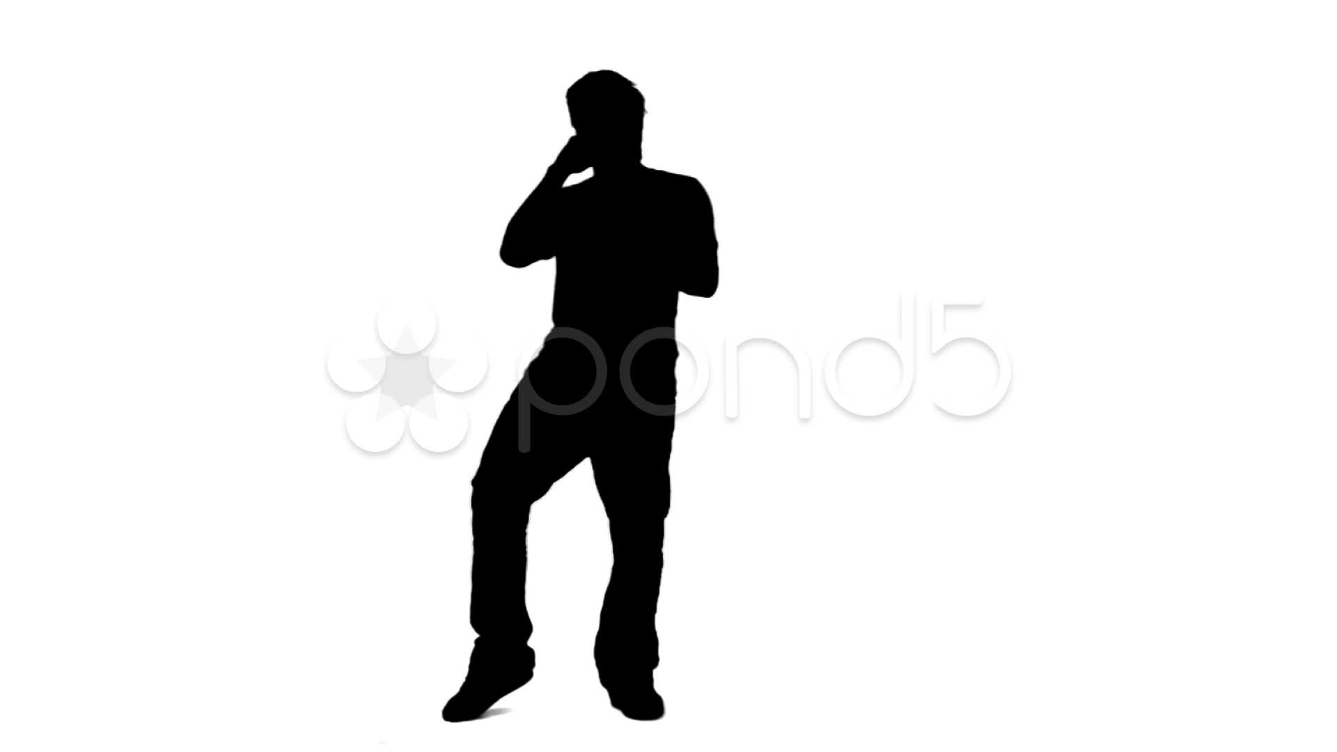 1920x1080 Silhouette Man Singing Into A Microphone ~ Clip