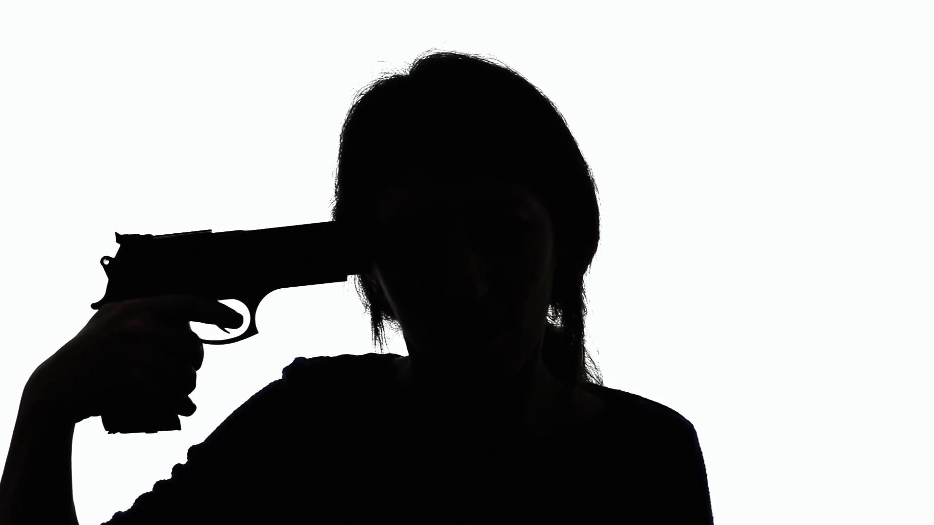 1920x1080 Silhouette Woman Gun Attempting Suicide. A Depressed Woman Taking