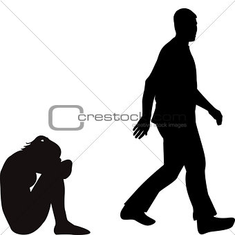 340x340 Silhouettes Of An Upset Depressed Young Woman Abandoned By Her