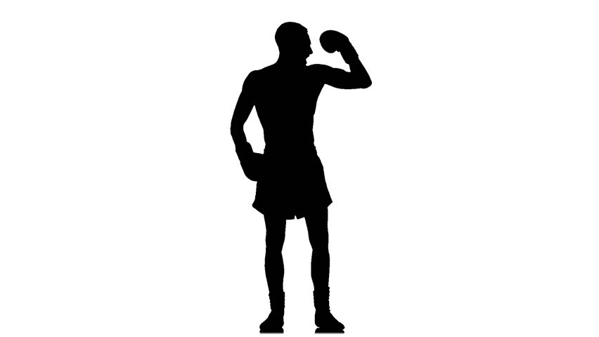 852x480 Boxer Exults After Fight. Silhouette. Slow Motion Stock Footage