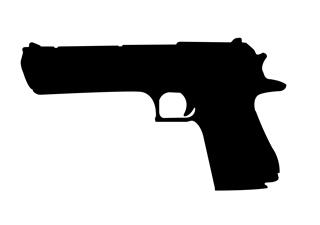 320x225 Desert Eagle Handgun Silhouette Decal Sticker