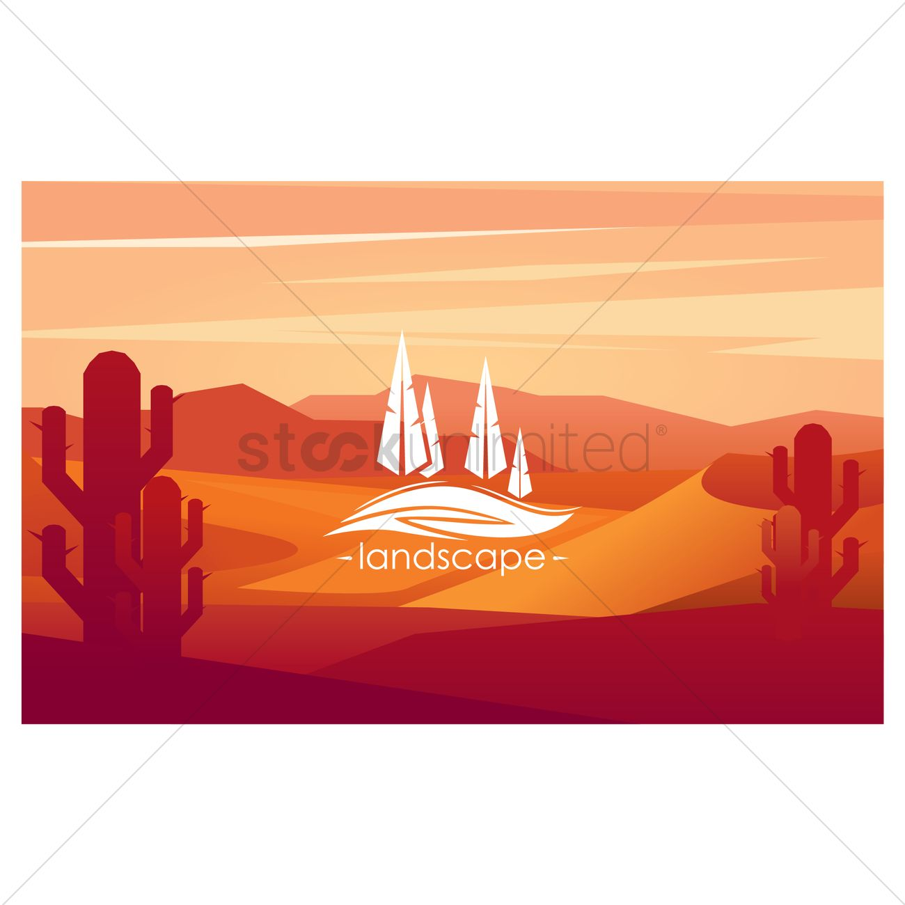 1300x1300 Desert Landscape Vector Image
