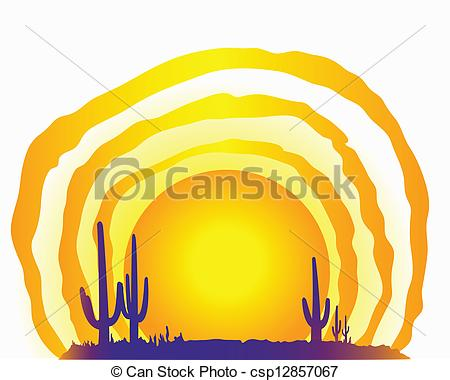 450x380 Clip Art Vector Of Desert Sun