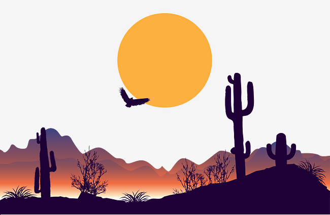 650x425 Dusk Desert Vector, Silhouette, Sun, Birds Png And Vector For Free