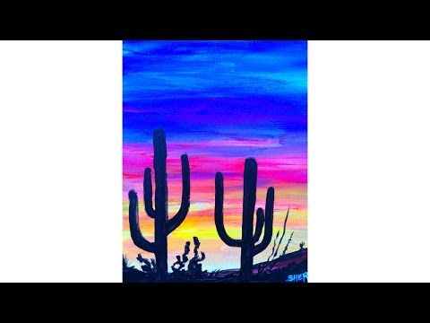 480x360 Easy Desert Sunset Saguaro's In Silhouette Acrylic Painting