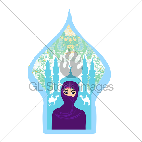 500x500 Portrait Of A Arabian Woman In Hijab With Desert Silhouette. Gl