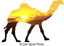 271x194 Silhouette Of Camel With Abstract Colors Of Desert. Stock