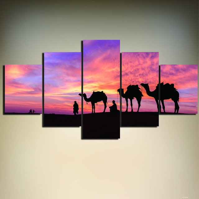 640x640 5 Pieces Sunset Desert And Camel Hd Printed Painting Modern Wall