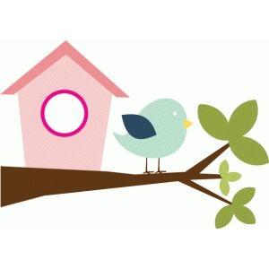 300x300 Bird Amp Birdhouse On Branch Silhouette Design, Silhouettes