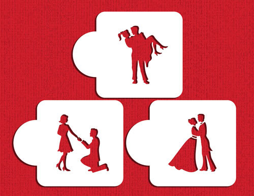 500x387 Designer Stencils Stages Of Love Silhouette Set C934 Cake