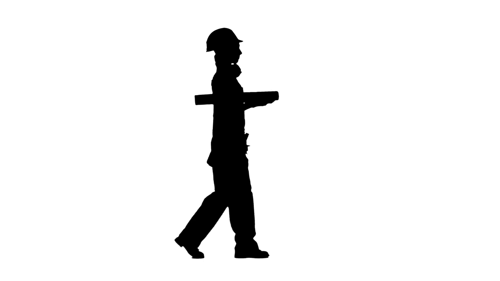 1920x1080 Designer Of The Construction Site Carries A Drawing. Silhouette