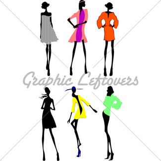 325x325 Fashion Girls Designer Silhouette Sketch Gl Stock Images