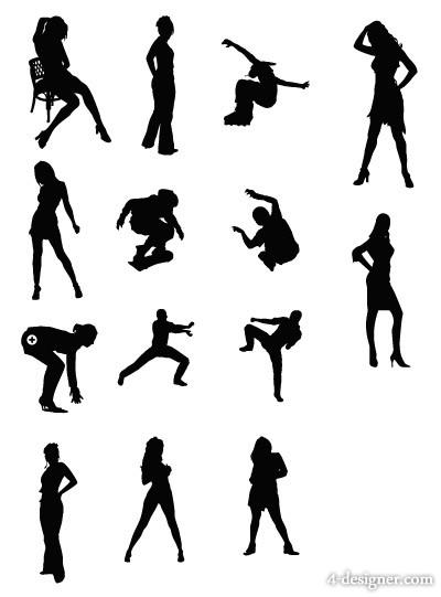 400x541 4 Designer Female Sports Figures Silhouette Vector Material