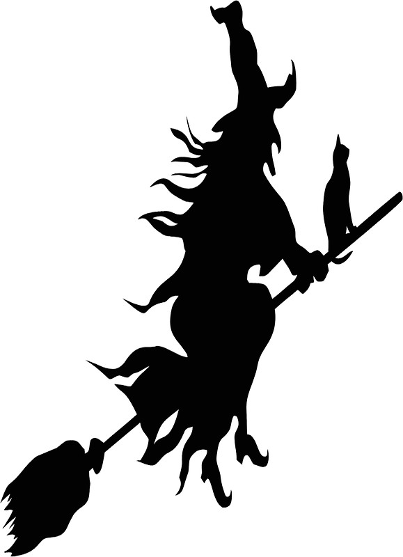 579x800 Witch, Flying, Broom Stick, Silhouette Stickers By Tom Hill
