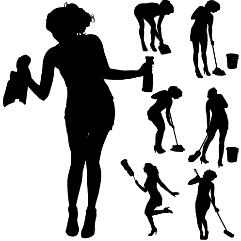 497x496 Creative Cleaning Woman Silhouette Design Vector 05