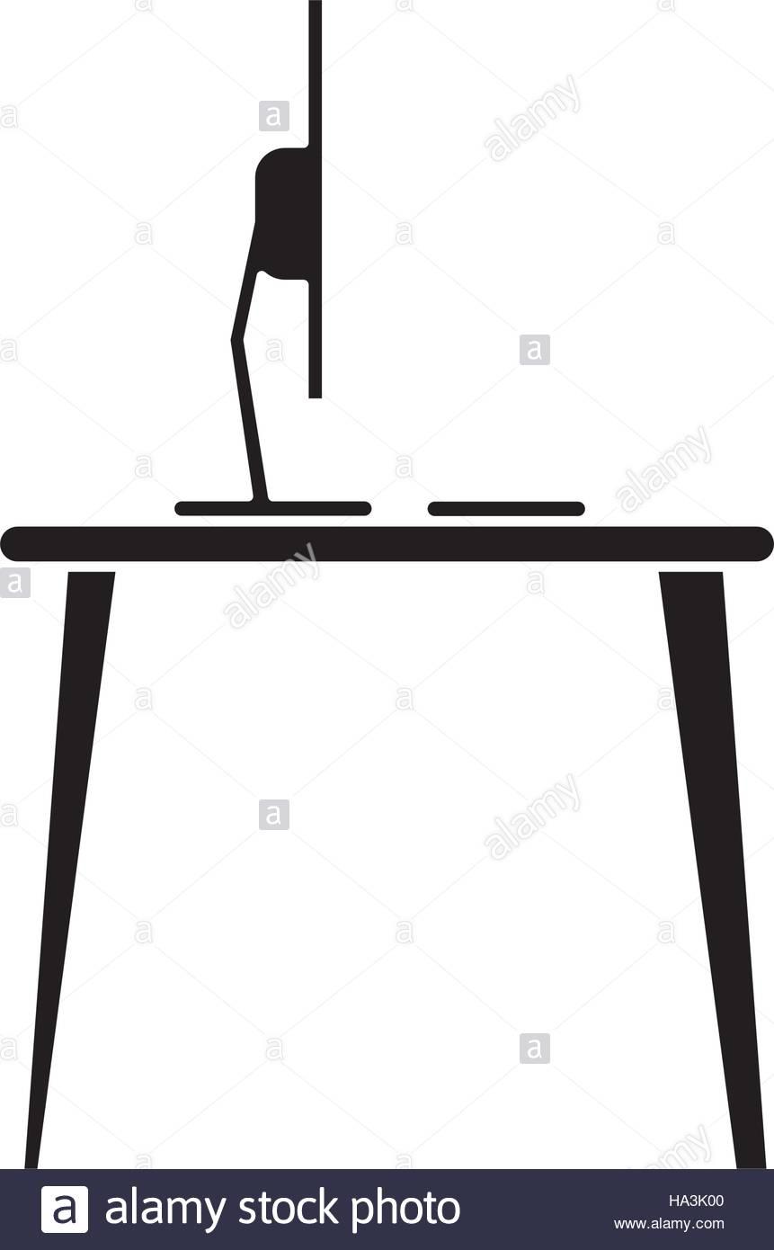 861x1390 Silhouette Laptop Desk Workplace Job Graphic Stock Vector Art