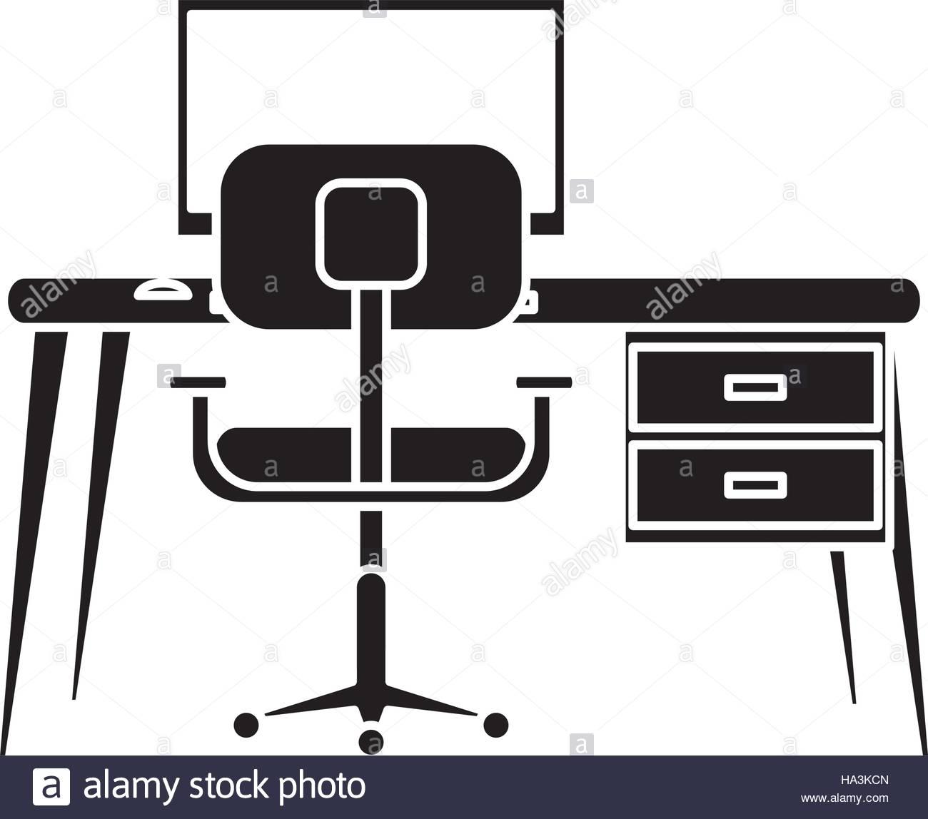 1300x1148 Silhouette Workplace Modern Pc Armchair Desk Stock Vector Art