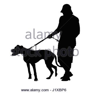 306x320 Detailed Silhouette Of Man Walking His Dog Stock Photo, Royalty