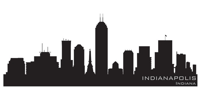 700x350 Indianapolis, Indiana Skyline. Detailed Vector Silhouette Wall