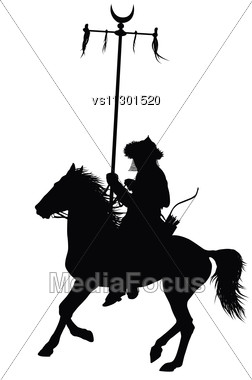 252x380 Medieval Oriental Warrior On Horseback Detailed Vector Silhouette