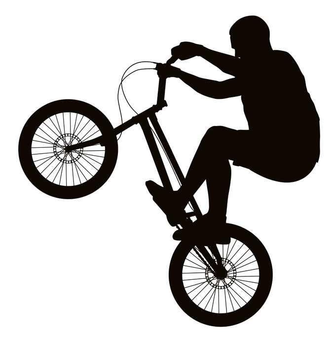 673x700 Bike Trick Detailed Vector Silhouette. Sports Design Wall Decal